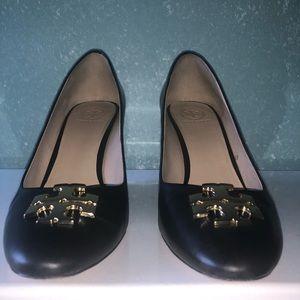 Tory Burch black Raleigh wedge heel size 8.5